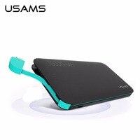 USAMS 10000 mAh Ngân Hàng Điện Cầm Tay US-CD05 Hạt Da Phổ Quát cho Thiết Bị Kỹ Thuật Số USB Cable & Powerbank Trong Một Phụ Kiện