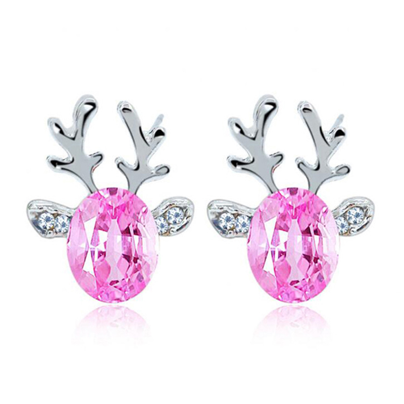 Fashion Christmas Jewelry Luxury Crystal Stud Earrings For Women 7 Colors Reindeer Earrings Brincos Factory Direct E131