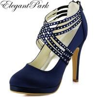 Elegantpark EP11085 PF Navy Blue Stiletto Heel Platform Rhinestones Cross Straps Zipper Back Satin Wedding Evening