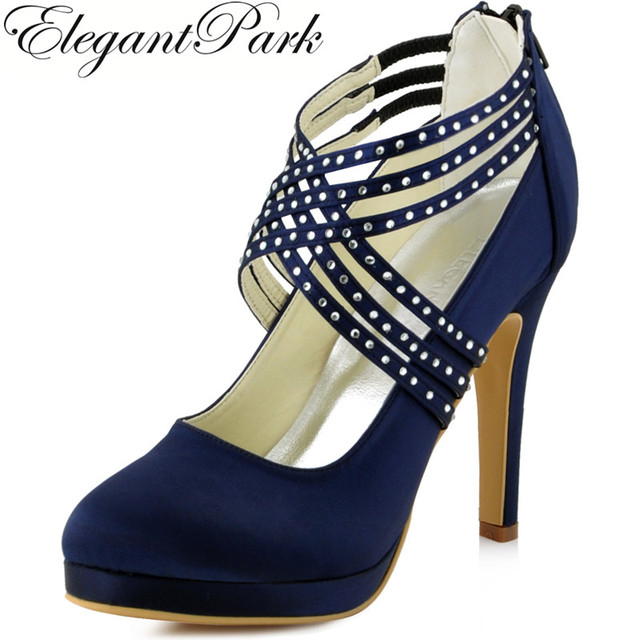 Women High Heel Shoes Wedding Platform Navy Blue Cross Strap Crystal Satin  Prom Party Bridal Pumps Photo