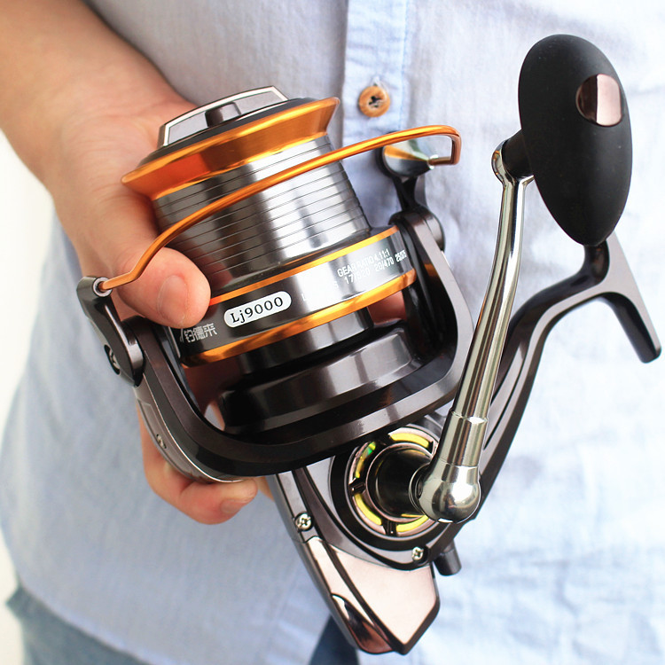 free delivery 9000 full metal wire cup wheel cast fishing reel by sea rod fishing ship wheel gear wholesale
