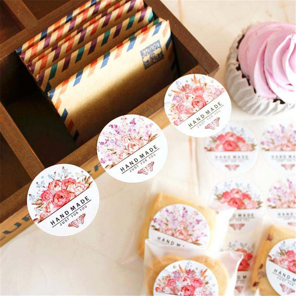 54pcs/lot(6 Sheets) Colorful Round Flowers Butterfly Just For You Hand Made Flower Design Sticker Labels  Stationery Sticker