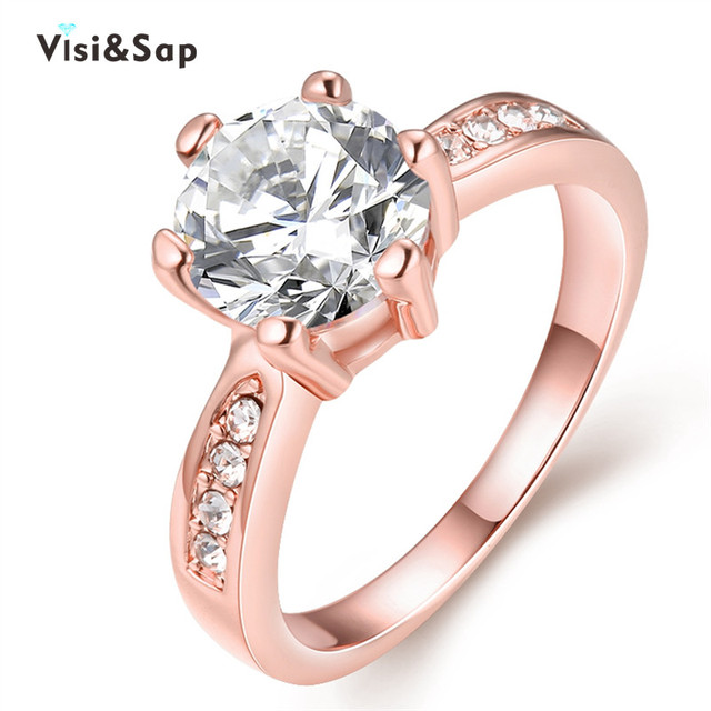 Visisap Korean Cute Wedding Rings For Women Rose Gold Color Ring Brilliant Cubic Zirconia Elegant Jewelry