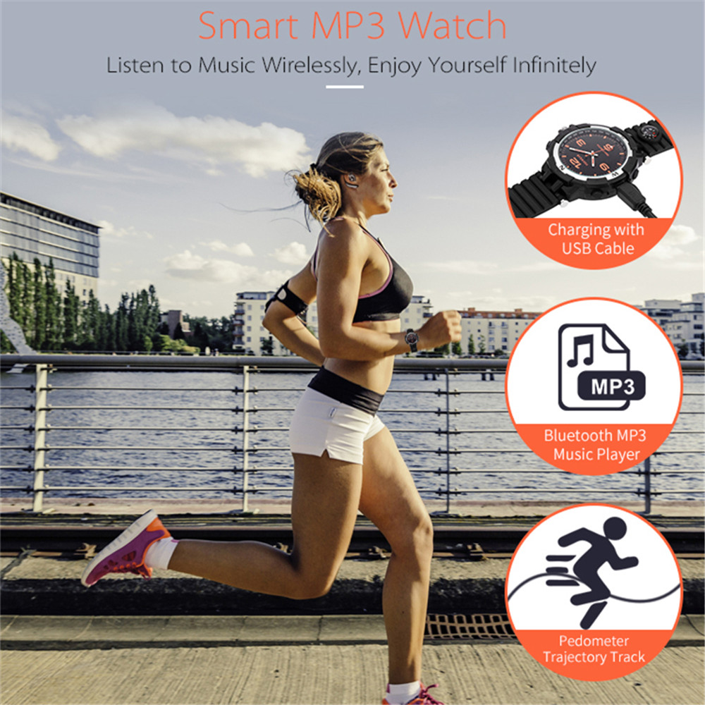 F35Quartz Bluetooth Smart Watch 32GB With MP3 Compass Pedometer Calls Message Reminder USB Rechargeable Sleep Monitor Smartband u80 smart watch with pedometer function