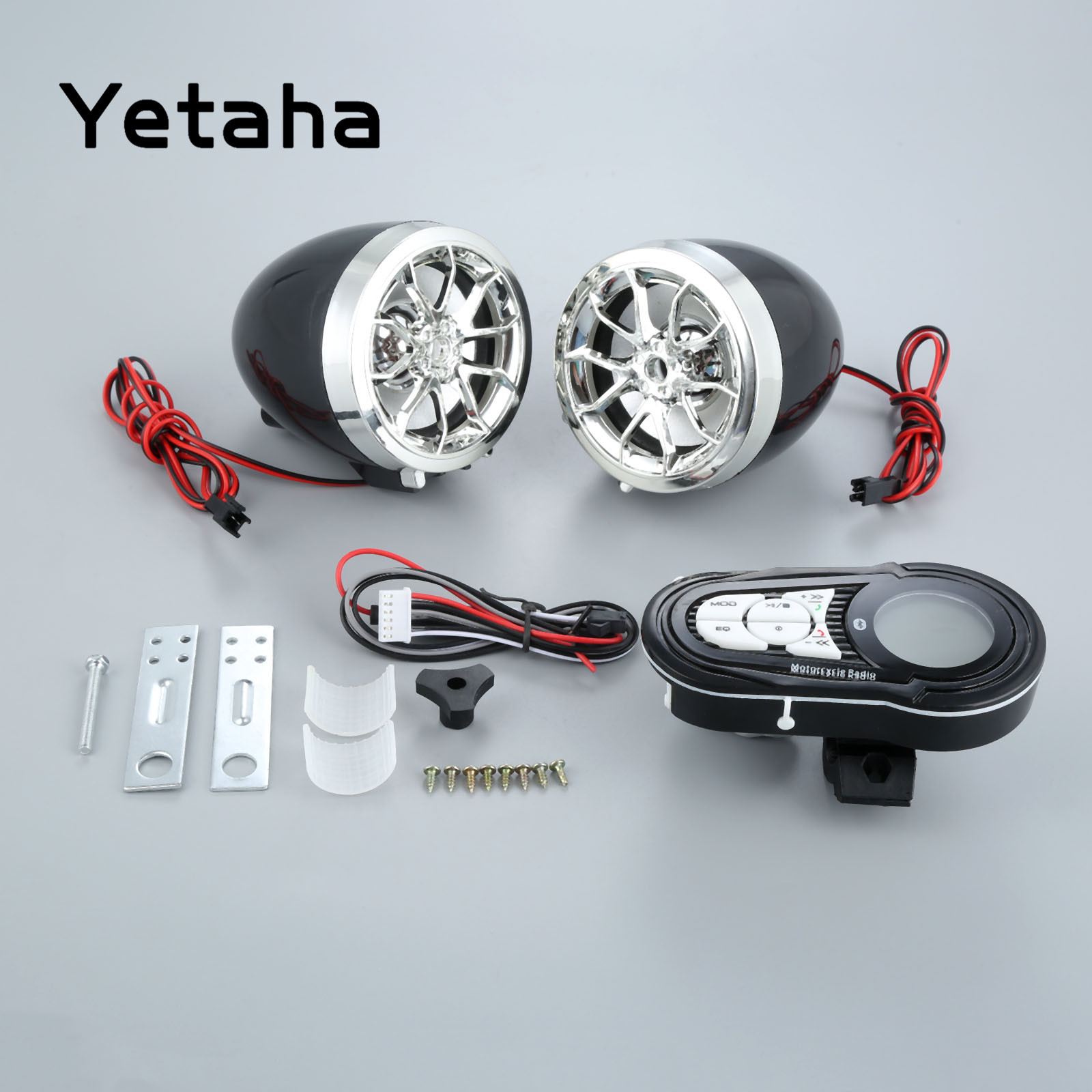 Yetaha Motorcycle Bluetooth Audio System 12V 15W Mp3 Player Waterproof Moto Speakers Support USB TF Card Carrier Charging Phone