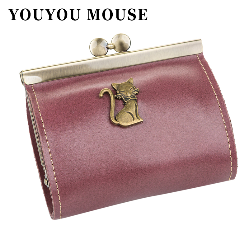 YOUYOU MOUSE Korean Style Womens Wallet Fashion Simple Short Section Purse Leather Retro Cat Pattern Cute Purse Wallet For Women youyou mouse korean style women wallet pu leather 2 fold phone package wallet multi function lovely big eyes pattern wallet
