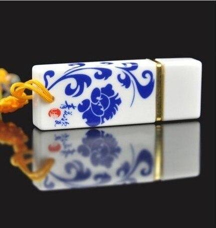2017 Blue&White Porcelain Fashion Ceramic Usb Flash Drive 64 Gb Gift Usb Stick 2.0 Pen Drive 64GB Pen Drives Memorias Usb Disk
