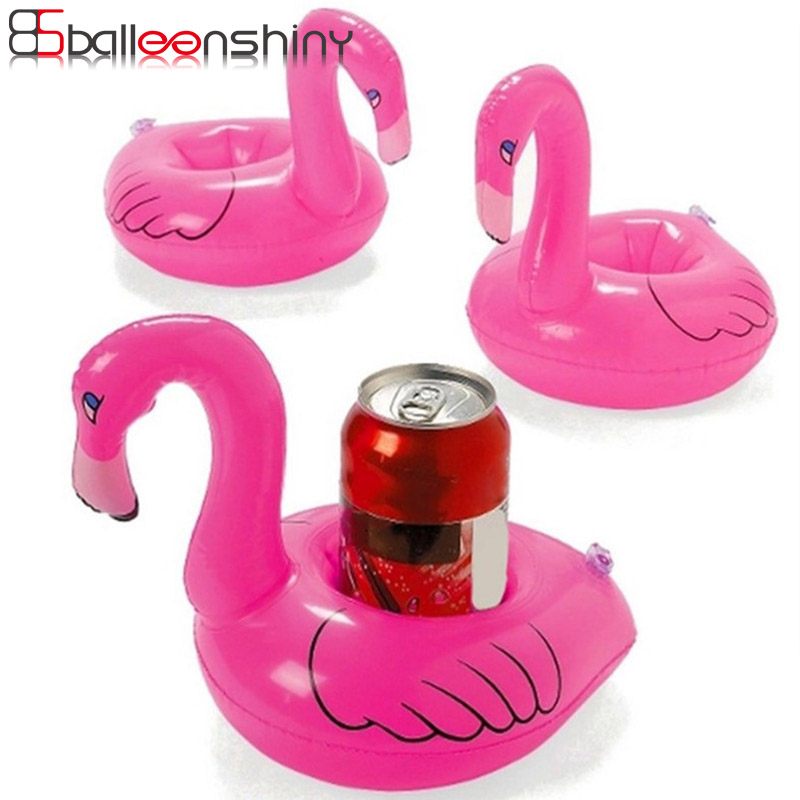 BalleenShiny Mini Flamingo Swimming Float Baby Inflatable Water Toys Pool Rafts Swimming Tool Children Kids Bath Toys Drink Set