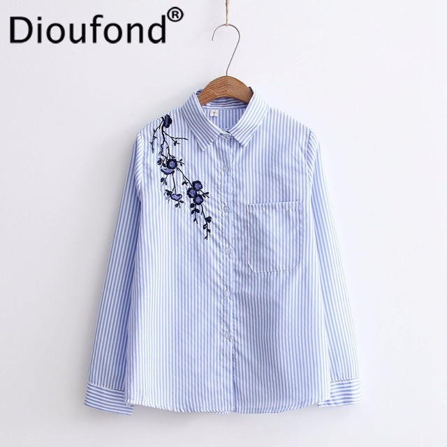 Dioufond Autumn Floral Embroidery White Long Sleeve Women Blouses Blue Striped Shirt Cotton Casual Women Tops  Blusas 2017