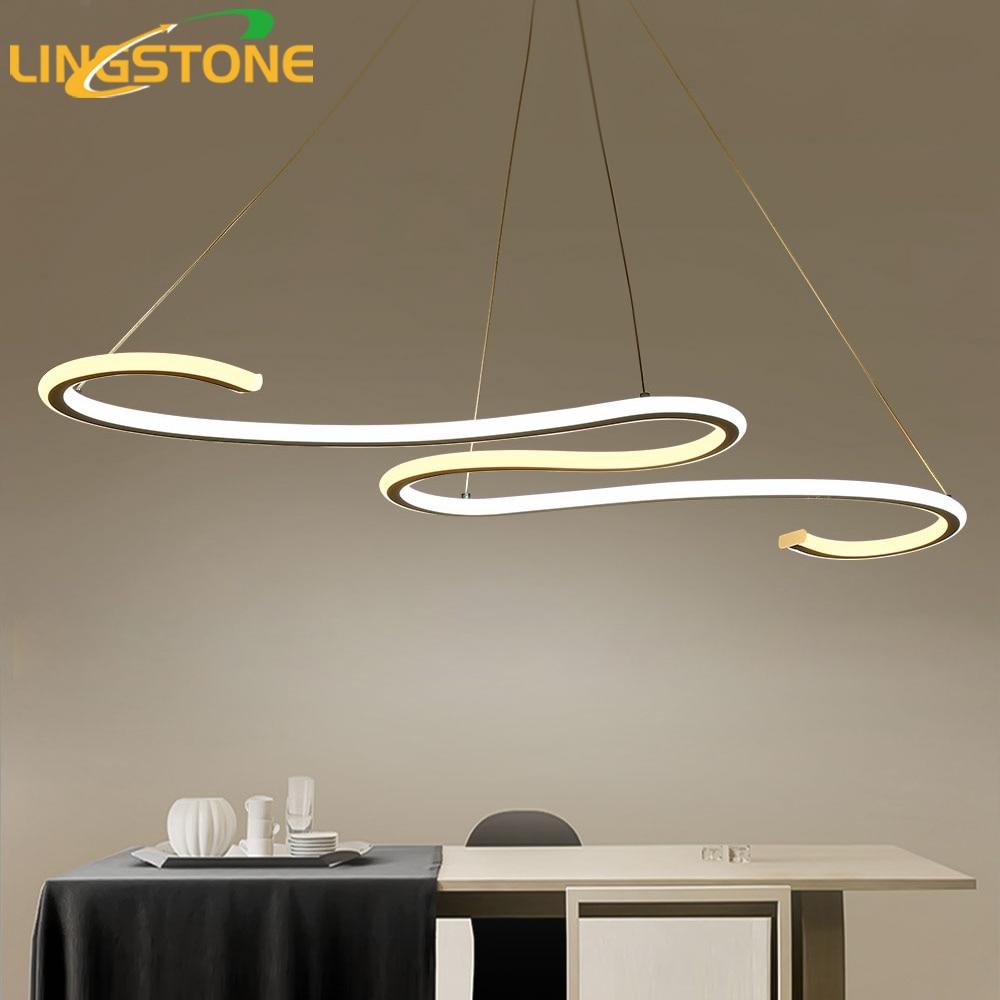 Lustre Chandelier Lighting Led Lamp Modern Ceiling Aluminum Remote Control Light Fixture Wave Shape Hanging Living