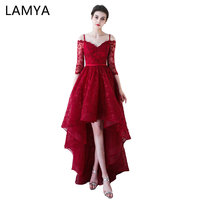 Lamya High Low Prom Dress Boat Neck With Half Sleeve Evening Party Dresses Women Black Lace
