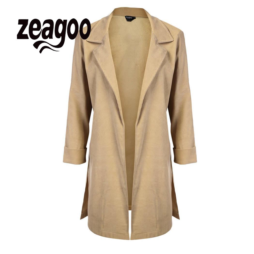 zeagoo Women Open Lapel   Trench   Casual Coat Side Long Long Outwear Sleeve Front Split