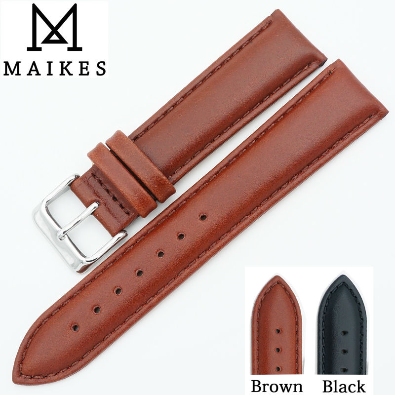 MAIKES New Watches Bracelet Belt Genuine Leather Watchbands 18 20 22 24 mm Accessories Strap Watch Band For daniel wellington DW maikes hq 16 18 20 22 24 mm genuine alligator leather strap watch band brown with pin buckle men watchbands bracelet accessories