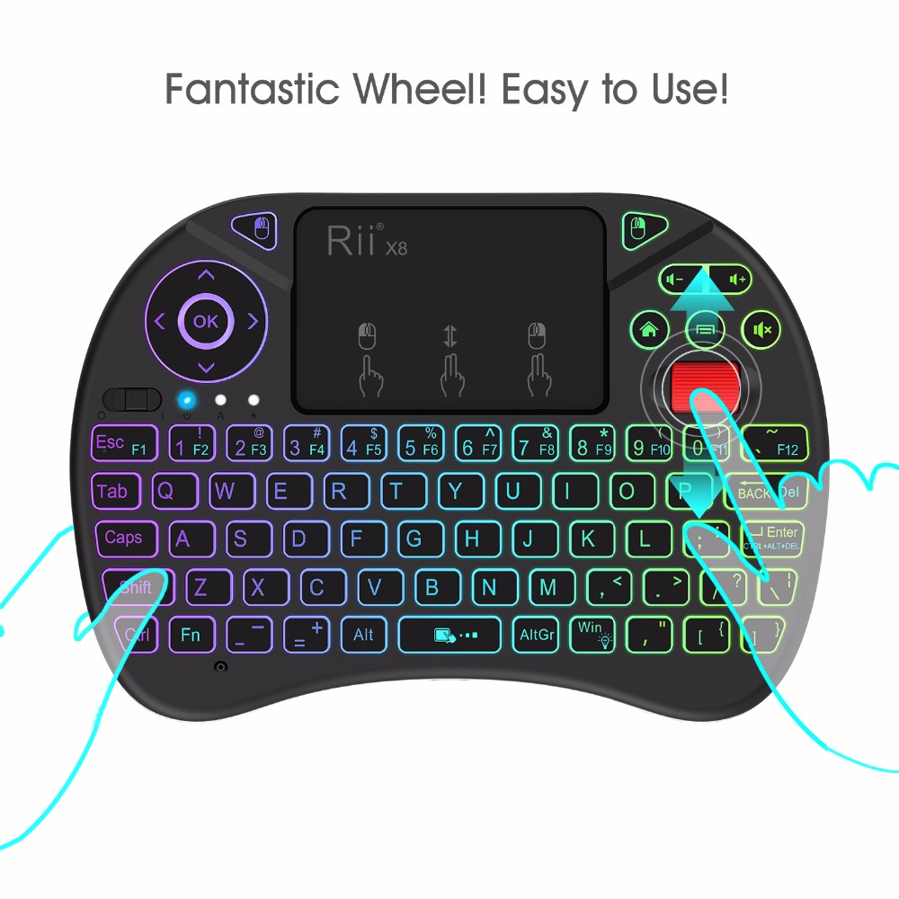Newest 2.4G Fly Air Mouse Rii X8 ( i8x ) RGB Backlit Wireless Keyboard Russian English Version i8 keyboard for Android TV box PC