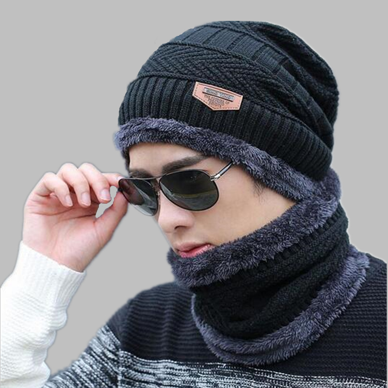 OZyc Balaclava Knitted Hat Scarf Cap Neck Warmer Winter Hats For Men Women Skullies Beanies Warm Fleece Dad Cap Beanie Knit Hats