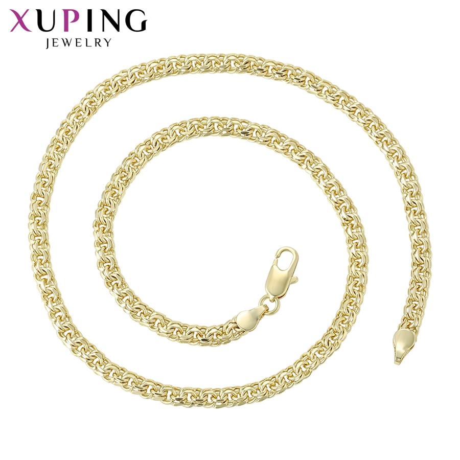 Xuping Moda de Alta Qualidade Estilo Popular Longo Colar de Cor de Ouro Amarelo Chapeado para Jóias Presentes S94.4-44758 Neutro