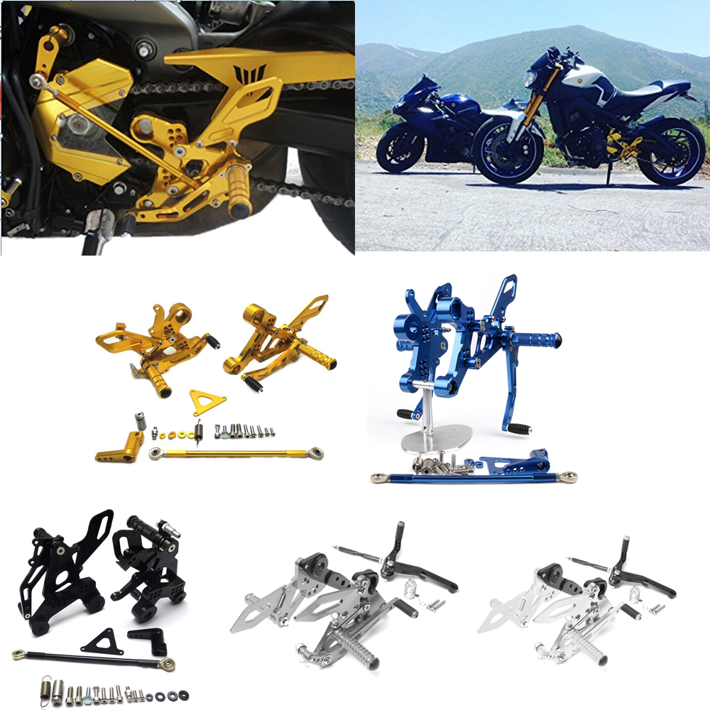 FZ09 Racing Adjustable CNC AluminiumCNRear Sets Rearset Foot Sets for Yamaha FZ-09 / FJ-09 2014 2015 2016 17, XSR 900 2016 2017 titanium cnc aluminum racing adjustable rearset foot pegs rear sets for yamaha mt 07 fz 07 mt07 fz07 2013 2014 2015 2016