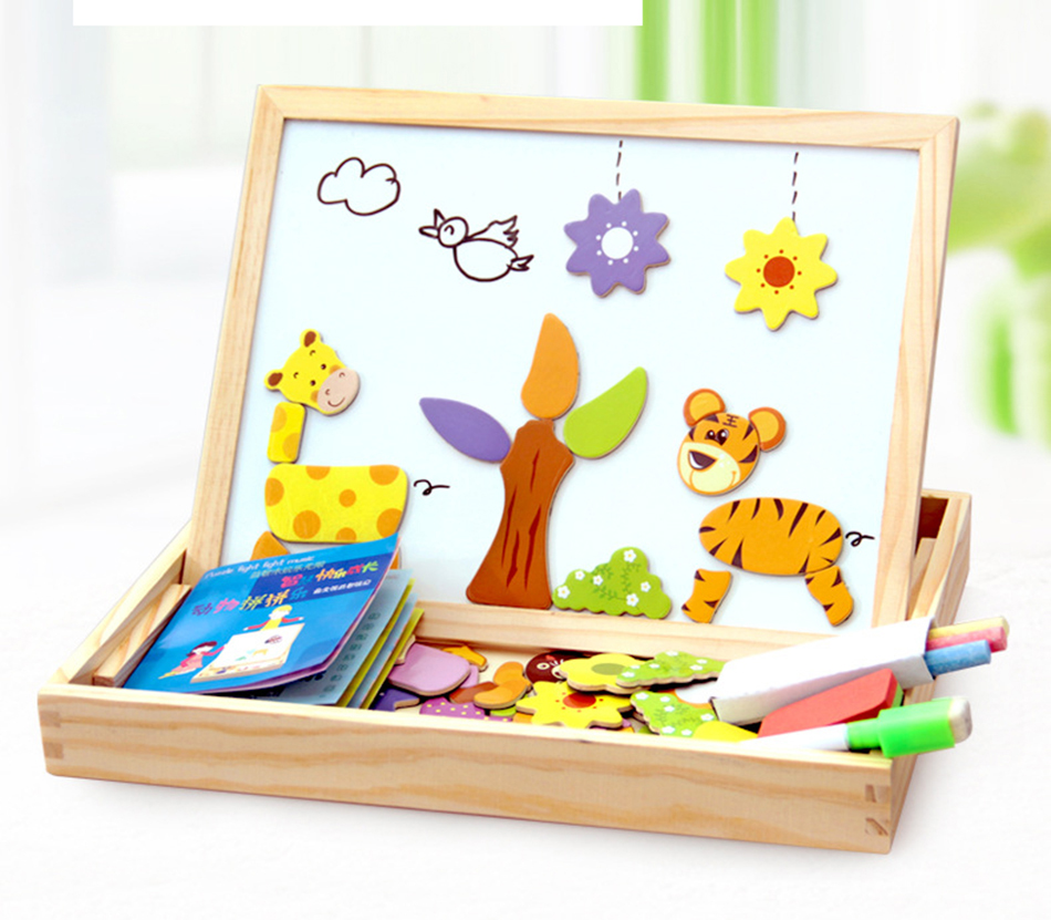 100PCS Magnetic Puzzle Figure Animals Vehicle Circus troupe Painting Board 5 styles puzzle Box Wood toy