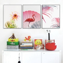 Pink Nordic Poster Art Canvas Flamingo Animal Wall Prints Cactus Painting for Kitchen Decor Bathroom Pictures