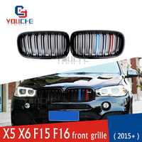 Gloss M color Front Bumper Grille for BMW X5 X6 F15 F16 5 door SUV 2014 + ABS Replacement Grill Car Styling Racing Grills Mesh