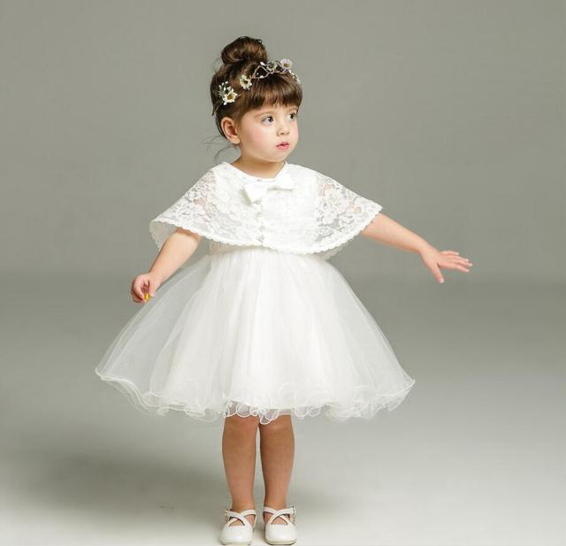 7b7499a27f1 2PC set Off White Tulle Baby Girl Baptism Christening Gown Dress Lace  Flower Beads Cape Girl Party Dress 0-24Months