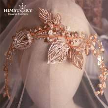 Himstory Luxury Baroque Classics Brides Pearls Headbands Handmade Leaf Tiaras Hairbands Wedding Hair Accessory  Headdress