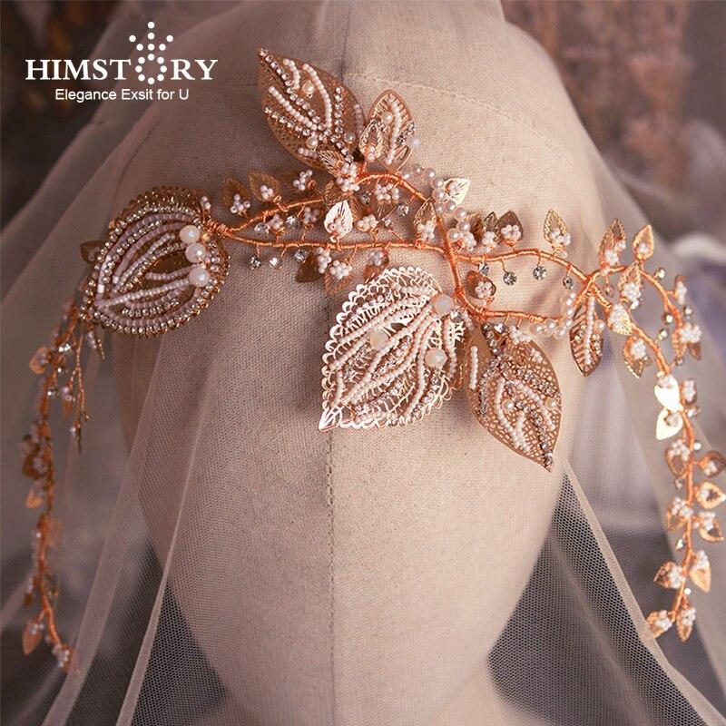 Himstory luxe Baroque classiques mariées perles bandeaux à la main feuille diadèmes bandeaux mariage cheveux accessoire coiffure