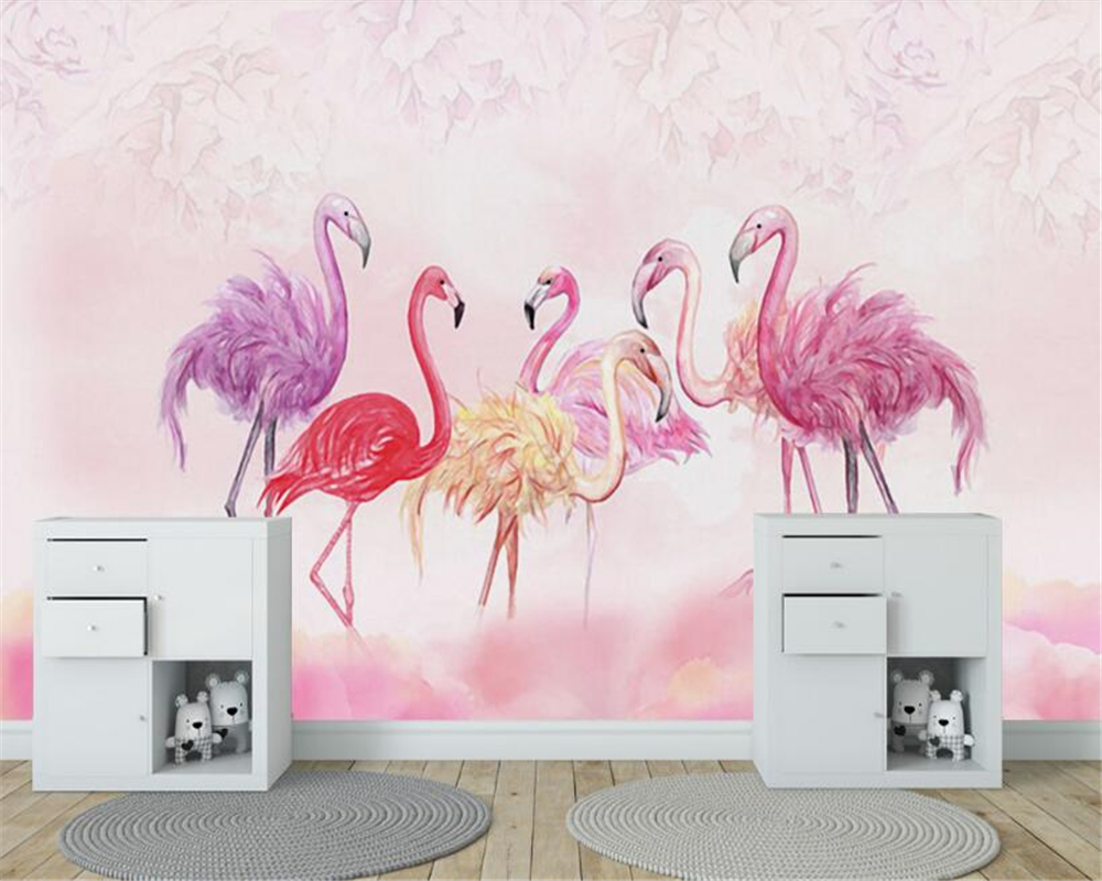 beibehang Custom personalized decorative 3d wallpaper Nordic hand-painted flamingos pink childrens room backdrop papier peint
