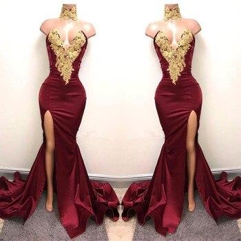 Aso Ebi Burgundy Long Mermaid Prom Dresses 2020 Nigeria Sexy High Side Split Bridesmaid Dress Off Shoulder African Appliques burgundy sexy off shoulder irregular hem dress