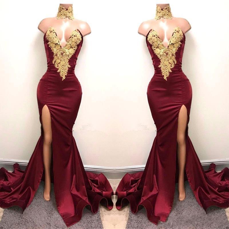 Aso Ebi Burgundy Long Mermaid Prom   Dresses   2019 Nigeria Sexy High Side Split   Bridesmaid     Dress   Off Shoulder African Appliques