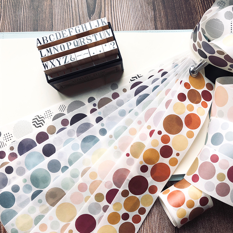 1 Roll/pc Round Circle Washi Masking Tape 5.3cmx5m Adhesive Masking Tape DIY Decoration Journal Scrapbook Stikcers Washi Tape