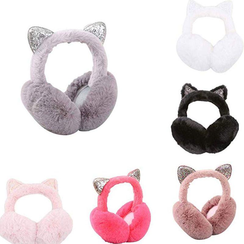 Women Cartoon Cat Ears Design Windproof Warm Adjustable Earmuffs
