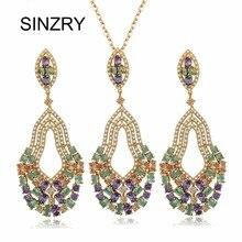 SINZRY joyería de Lujo AAA Zirconia Cúbico colorido Sistemas de La Joyería del partido exagerada colgante del pendiente del collar para las mujeres