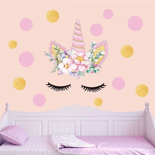 Delicate Star Unicorn with Flowers Wall Decals For Girls DIY Decor Party Gift EO