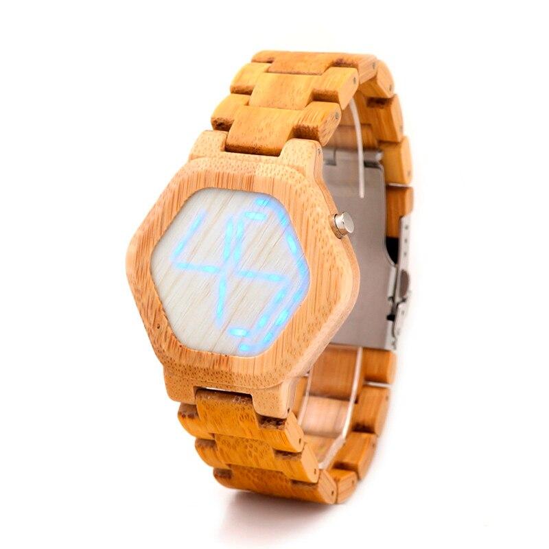 Genuine BOBO BIRD L-E03 Bamboo Wood Digital Wrist Watches Wholesale Natural Light Quartz Hombre Men Analog Relogio Masculino tango кпб bamboo 3d digital 1331 33