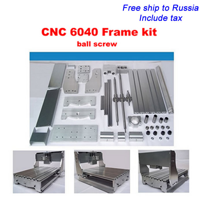 Russia special line!!!  CNC Router 6040 DIY milling machine frame kit , ball screw, optical axis, bearing 6040 cnc router frame milling machine mechanical kit ball screw aluminum clamp can interchangeable 80mm