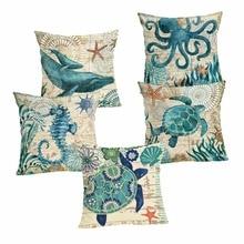 New Home Decor Pillowcase  Ocean series Cushion Cover Linen Case Chair Sofa Throw Pillow 45x45cm