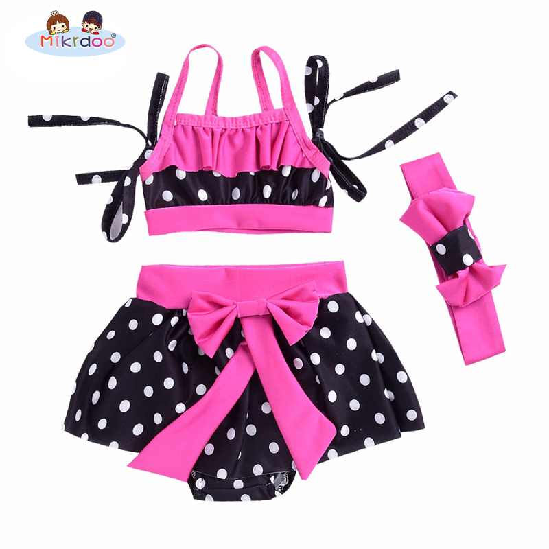 2018 newborn Baby Girl Swimwear Sets Cute Polka Dot Bikini Bathing Suit Belt Top +Mini dress+head band 3PCS Beachwear Outfits