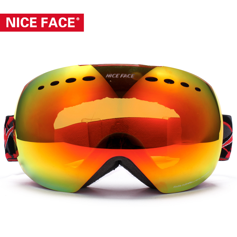 ФОТО Dual Layer Large Spherical Snow Goggle Special Compatible Design 100% UV Protection Anti Fog Ski Goggles Snowboard Goggles NF146