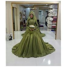 MZYW0317 full long sleeve high neck lace applique gelinlik muslim hijab wedding dress