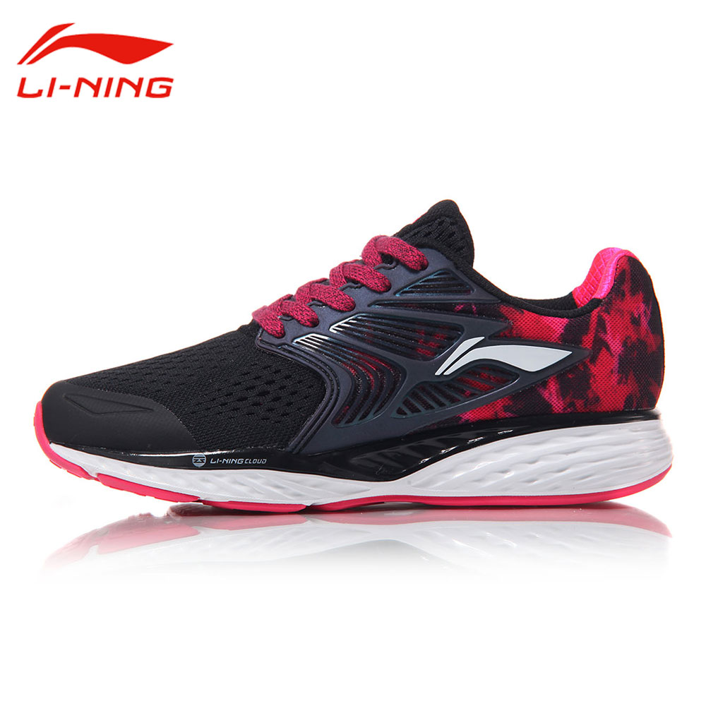 Li-Ning Women's Cloud IV Cushion Running Shoes Reflective Heel Li Ning Stability Sneakers LINING Light Sports Shoes ARHM026 original li ning men professional basketball shoes
