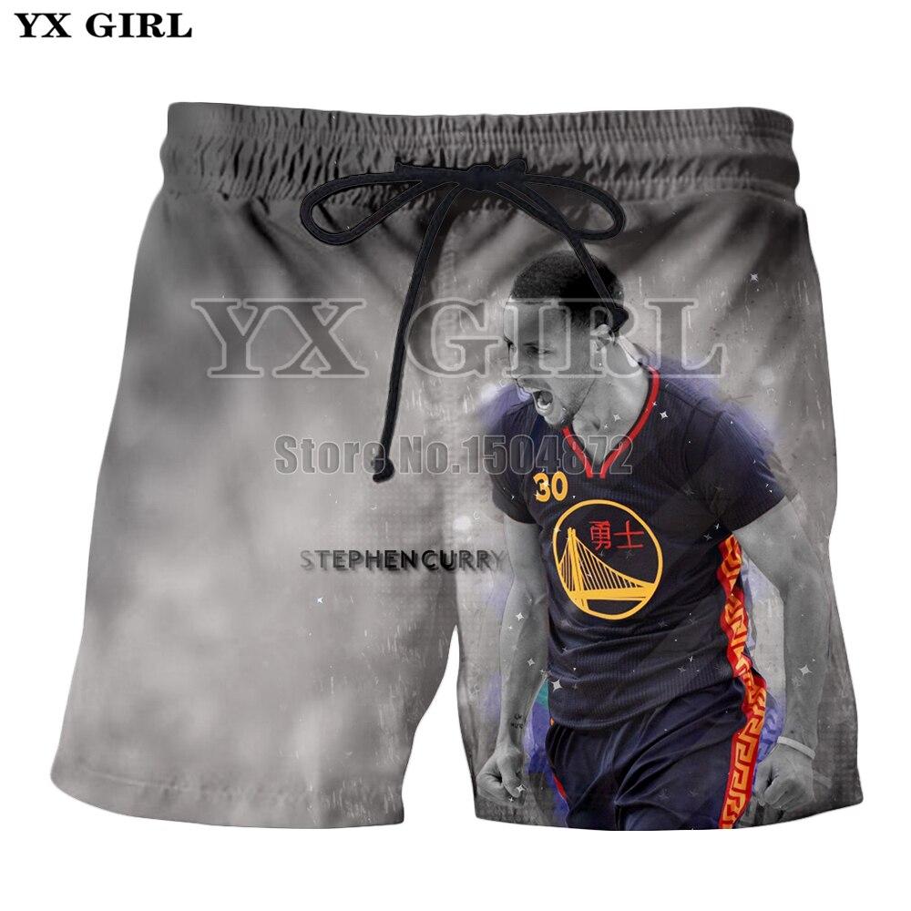 Jogger Shorts 3d-Printed Beach Summer Stephen Girl Casual YX Curry Men