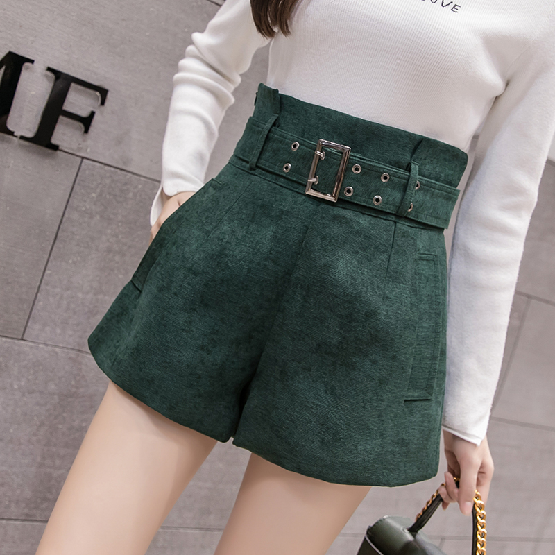 High waist   shorts   women korean elegant a line wide leg   short   pants 2019 autumn winter black ladies office work belted   shorts