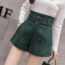 High waist shorts women korean elegant a line wide leg short pants 2018 autumn winter black ladies office work belted shorts