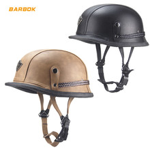 High Strength ABS Shell Motorcycle Helmets for Cruise Cycling Hiking PU Leather Outer Layer Easy Clean Outdoor Sports Safety Cap