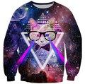 2016 мужчин / женщин harajuku печать кошка галактика пространство пуловер 3d толстовки забавный толстовка sudaderas топы одежду