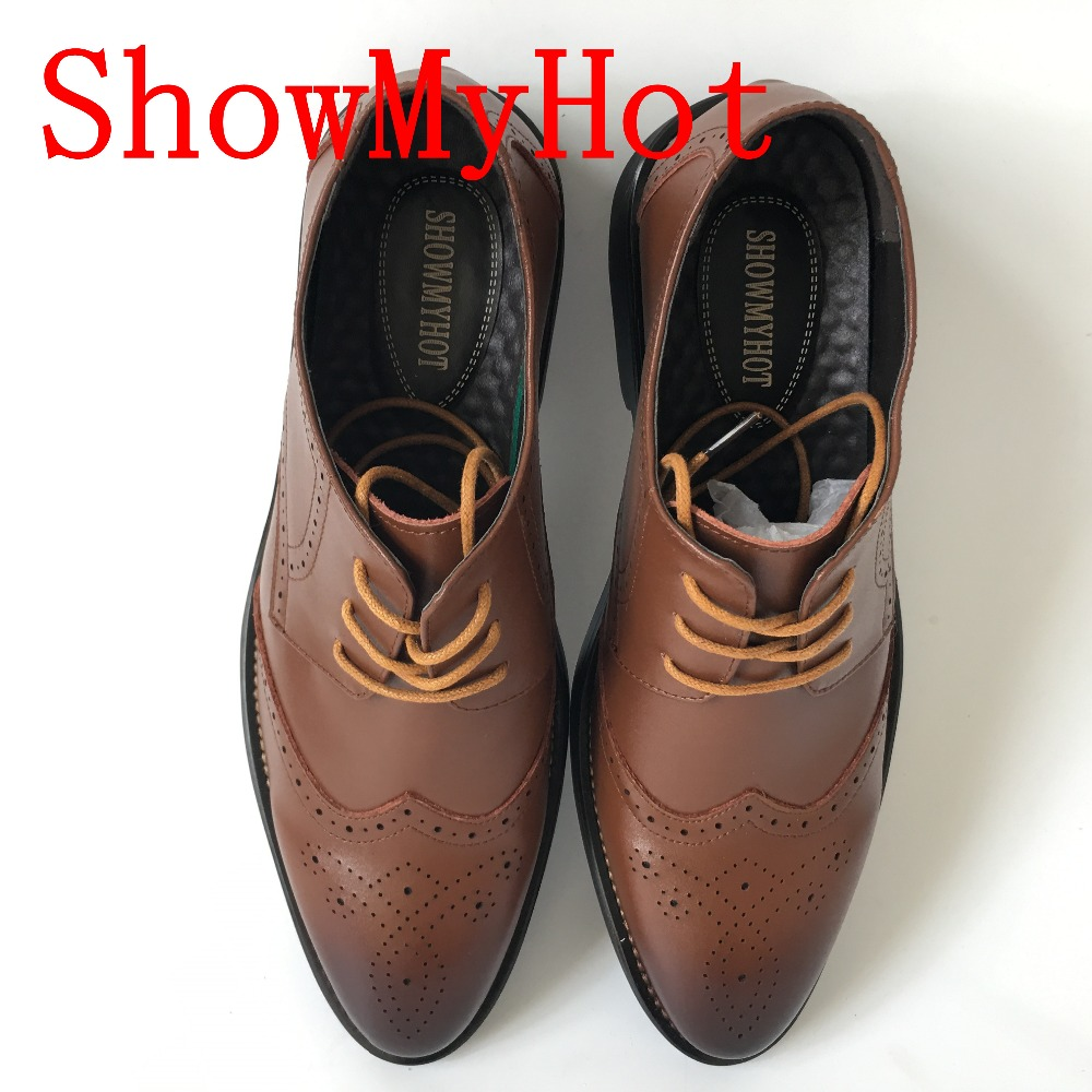 Casuais Homens Esculpida Outono Showmyhot Masculino Respirável azul vermelho Sapatos Dos Preto Britânico Do Vinho Oxford Real Couro marrom Laço Negócio Bullock EvzYq