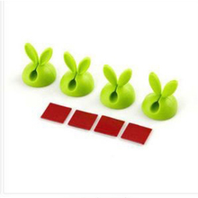 Top Deals 4pcs/set Rabbit Ears Cable Holder Solid Line Device Silicone Cartoon Electrical Wire Cable Clamp Cord Winder Green