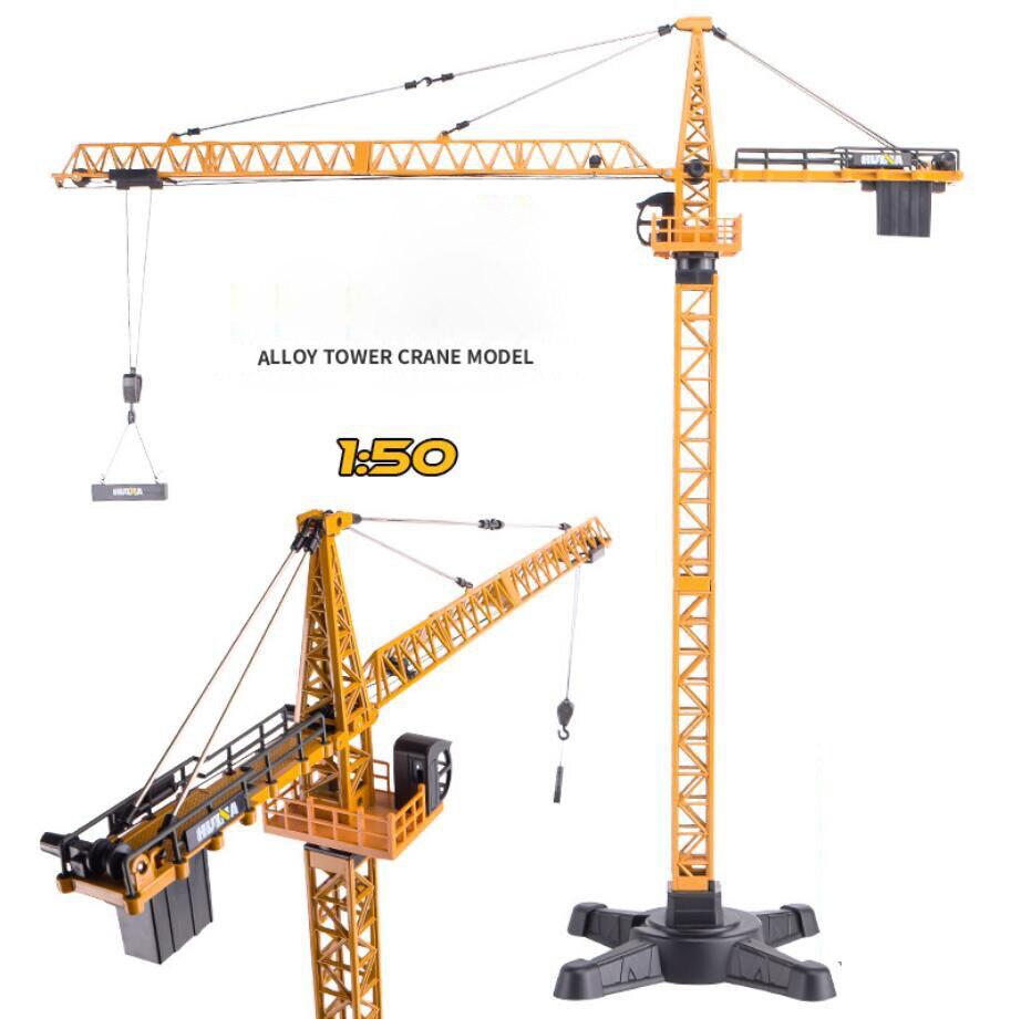 Ville architecture ingénierie haute Simulation 1:50 échelle tour grue métal modèle moulé sous pression jouets collection pour enfants cadeaux