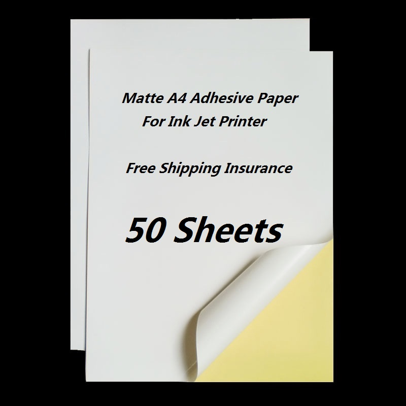 50 Sheets/Pack A4 White Matte Self Adhesive Easy Peeling Sticker Paper For Ink Jet Printer 210 x 297mm pacon riverside construction paper 76 lbs 18 x 24 green 50 sheets pack 103461 dmi pk